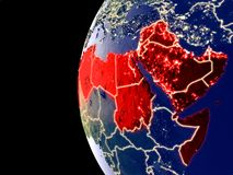 Arab League on globe from space royalty free illustration