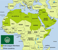 Arab League map and surroundings. A ial map showing the Arab League map and surrounding territories Stock Photo