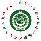 Arab League member states. Flags of the Arab League member states overlaid on outline map and the Arab League emblem isolated on white background. Syria included royalty free illustration