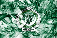 Arab League smoke flag, regional organization of Arab states. On a white background stock image