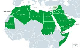 Arab League, League of Arab States, political map stock photo