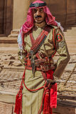 Arab legion soldier portrait  in nabatean city of  petra jordan Royalty Free Stock Images