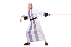 Arab man. In tug of war concept Stock Image