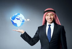 The arab man in air travel concept Royalty Free Stock Photography