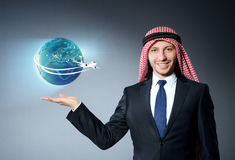 The arab man in air travel concept Royalty Free Stock Images
