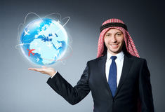 The arab man in air travel concept Stock Photography