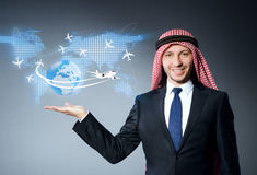 The arab man in air travel concept Stock Photo