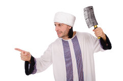 Arab man with axe Stock Photo