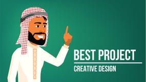 Arab Man Banner Vector. Middle Eastern Man. Traditional National Costume. For Web, Brochure, Poster Design. Illustration. Arab Man Banner Vector. Young Saudi vector illustration