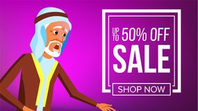 Arab Man Banner Vector. Traditional National Costume. Middle Eastern People. For Presentation, Print, Invitation Design. Arab Man Banner Vector. Middle Eastern royalty free illustration