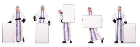 The arab man with blank board for message Royalty Free Stock Image