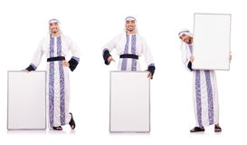 The arab man with blank board for message Stock Photography