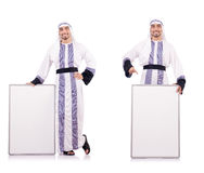 The arab man with blank board for message Royalty Free Stock Photos