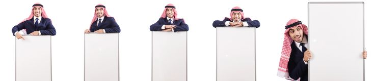 The arab man with blank board for message Stock Image