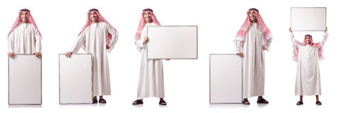 The arab man with blank board on white Stock Photos