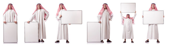 The arab man with blank board on white Royalty Free Stock Photo