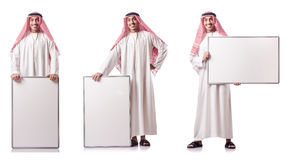 The arab man with blank board on white Royalty Free Stock Photography