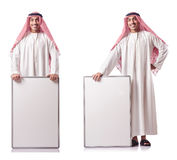 The arab man with blank board on white Stock Images