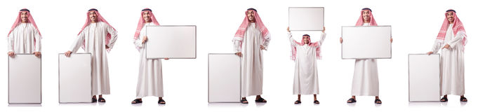 The arab man with blank board on white Royalty Free Stock Image