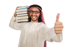 Arab man with books isolated on white stock photos