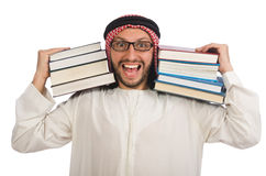 Arab man with books isolated on white Royalty Free Stock Photography