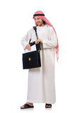 Arab man with briefcase isolated Royalty Free Stock Images
