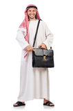 Arab man with briefcase isolated Stock Photography