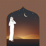 Arab man calling for prayer in the evening. Illustration of Arab man calling for prayer in the evening Royalty Free Stock Image
