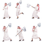 The arab man with catching net isolated on white Stock Images