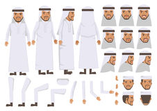 Arab Man. Character creation set. Icons with different types of faces and Islamic head scarf men clothing style, emotions,  front, rear, side view of male Royalty Free Stock Images