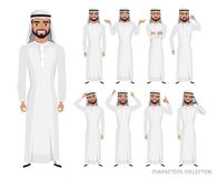 Arab Man character set of emotions. And poses. Vector illustration in cartoon style royalty free illustration