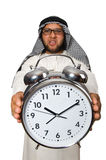 Arab man with clock isolated Royalty Free Stock Photos