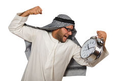 Arab man with clock isolated Royalty Free Stock Image