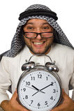 Arab man with clock isolated Royalty Free Stock Images
