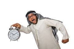 Arab man with clock isolated Stock Photography