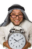 Arab man with clock isolated Stock Image