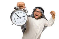 Arab man with clock isolated Royalty Free Stock Photo