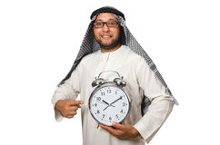 Arab man with clock isolated on white Royalty Free Stock Photos