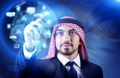 The arab man in cloud computing concept Royalty Free Stock Images