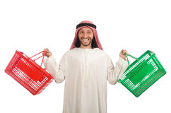 Arab man doing shopping isolated on white Royalty Free Stock Photography