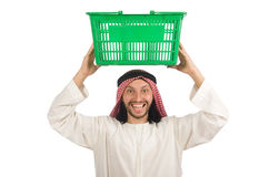 Arab man doing shopping isolated on white Stock Photo