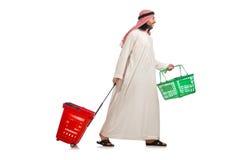 Arab man doing shopping isolated on white Stock Images