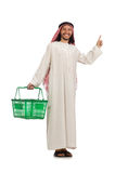 Arab man doing shopping isolated on white Stock Photos