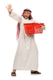 Arab man doing shopping isolated on white Royalty Free Stock Images