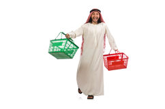 Arab man doing shopping isolated on white Royalty Free Stock Image
