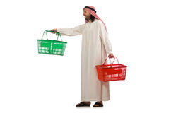 Arab man doing shopping isolated on white Royalty Free Stock Photos