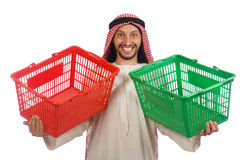 Arab man doing shopping isolated on white Royalty Free Stock Photo