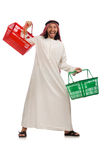 Arab man doing shopping isolated on white Stock Photography