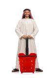 Arab man doing shopping isolated on white Stock Image