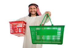 The arab man doing shopping isolated on white Royalty Free Stock Image